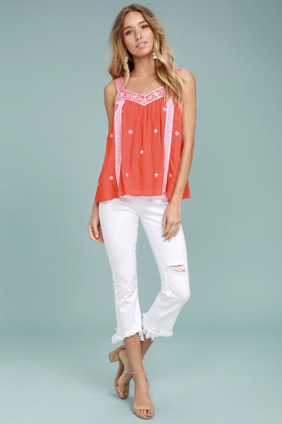 Moon River Day Trip Coral Orange Embroidered Sleeveless Top 2
