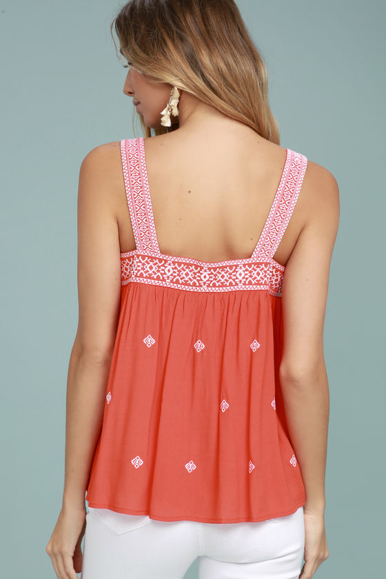Moon River Day Trip Coral Orange Embroidered Sleeveless Top 3
