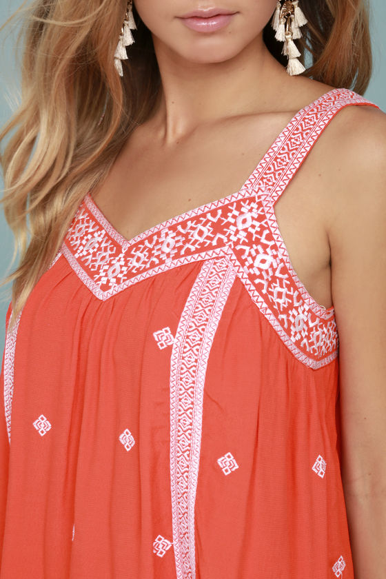 Moon River Day Trip Coral Orange Embroidered Sleeveless Top 4