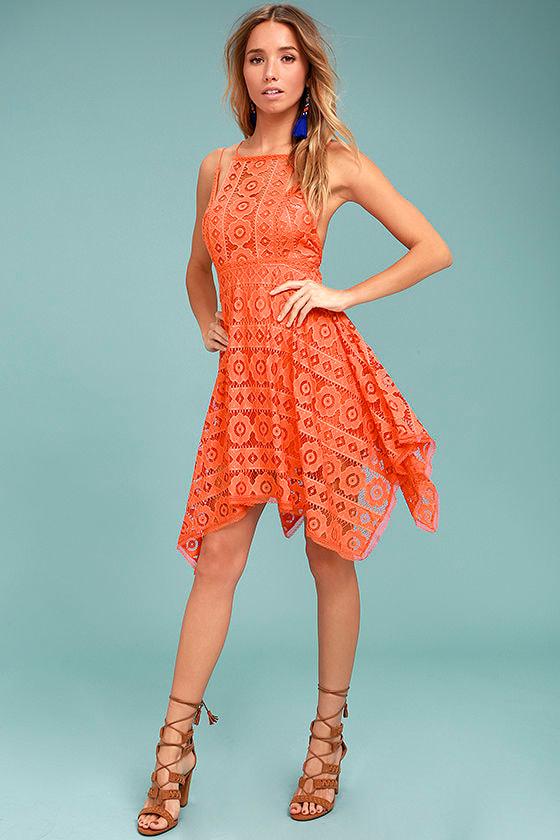 9d02045859c Free People Just Like Honey Dress - Coral Orange Crochet Lace Dress ...