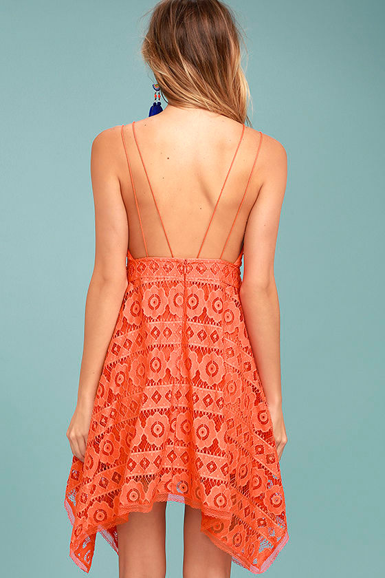Free People Just Like Honey Coral Orange Lace Dress 3