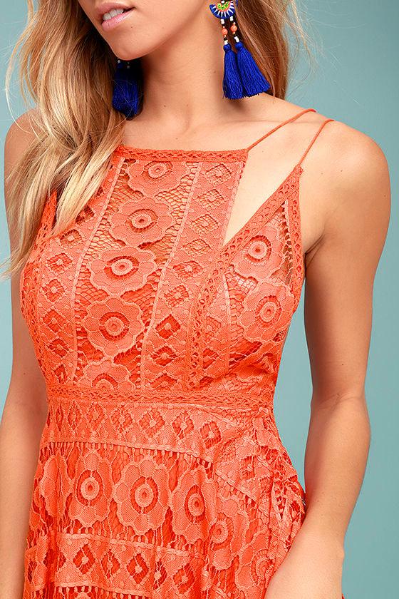 Free People Just Like Honey Coral Orange Lace Dress 4