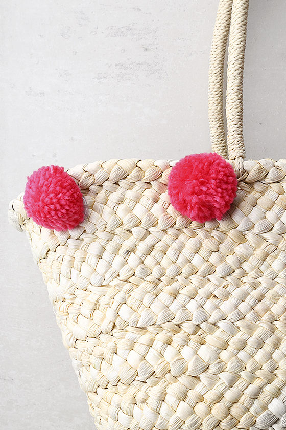 Byron Bay Beige and Pink Pom Pom Tote Bag 2