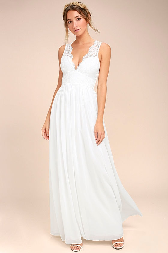 Lovely White Lace Dress - Lace Maxi Dress - Gown - White ...