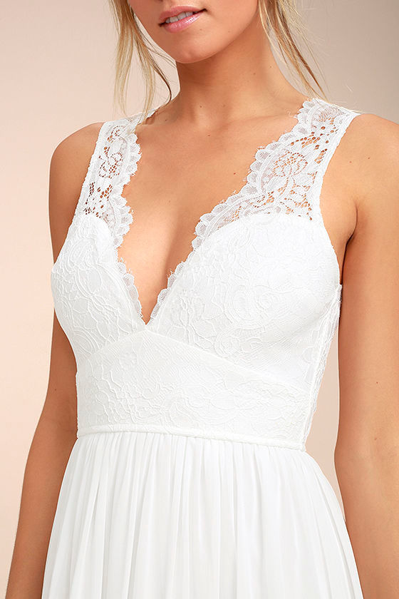 Destined to Dream White Lace Maxi Dress 4