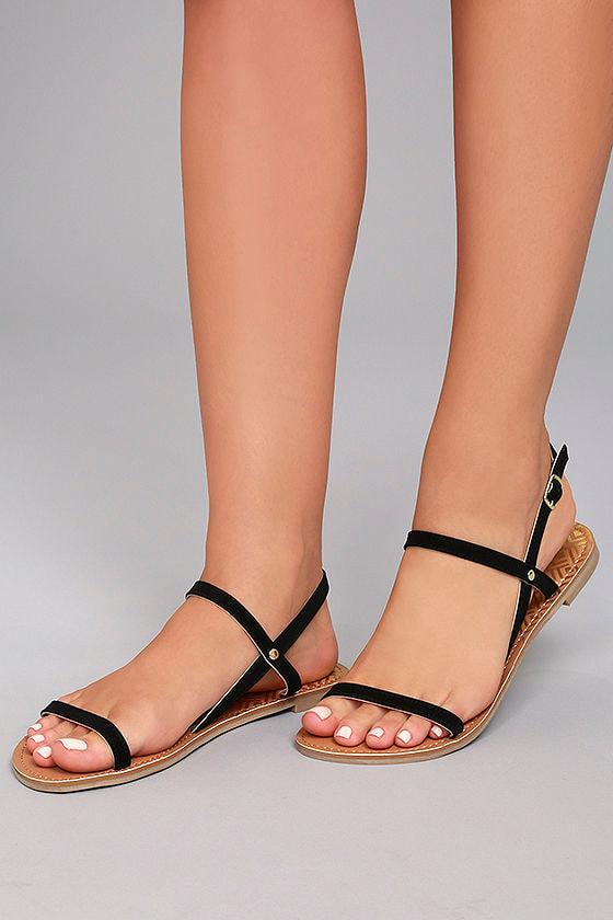 55c81f0b1 Cute Flat Sandals - Black Nubuck Sandals - Vegan Sandals