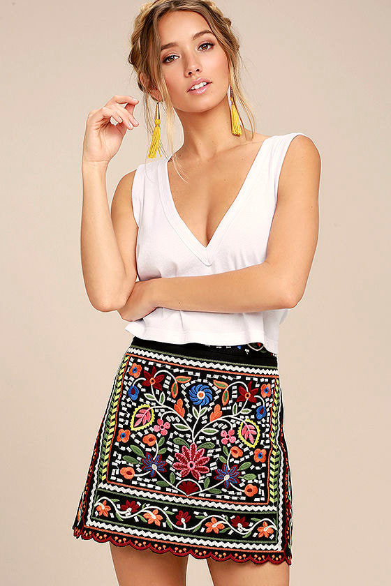 c3a9c9c9e3 Don't Stop the Party Black Embroidered Mini Skirt