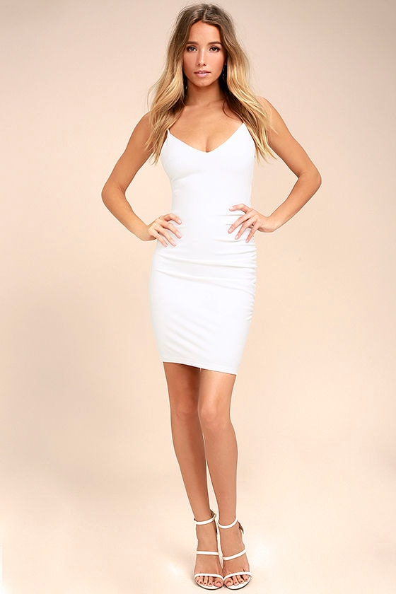 Au Courant White Bodycon Dress 1