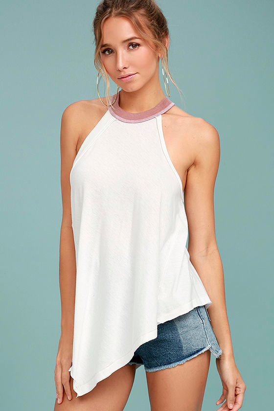 Free People Twin Peaks White Tank Top 1