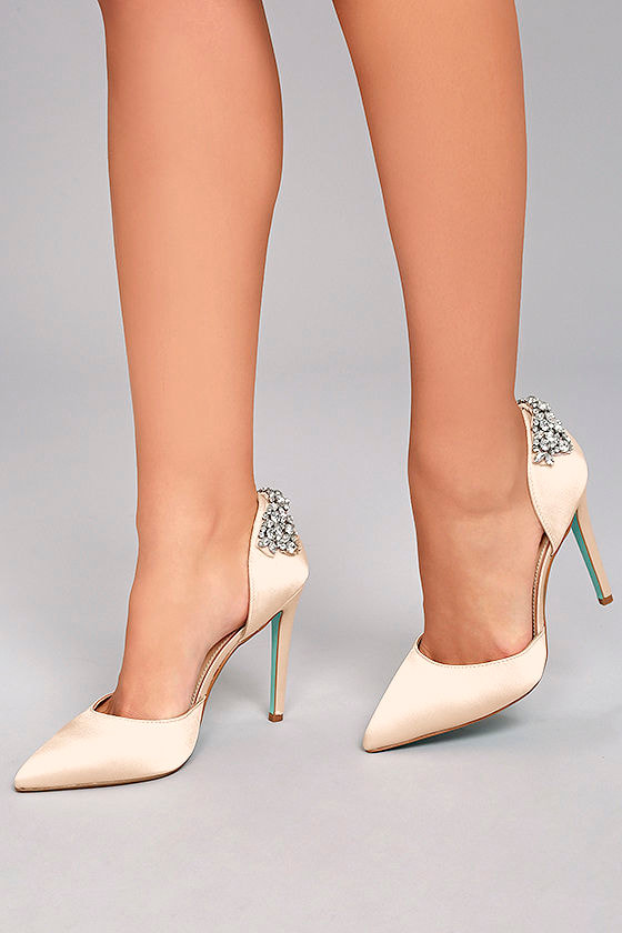 5e4692ef4 Blue by Betsey Johnson Rosie - Champagne Heels - Satin Pumps