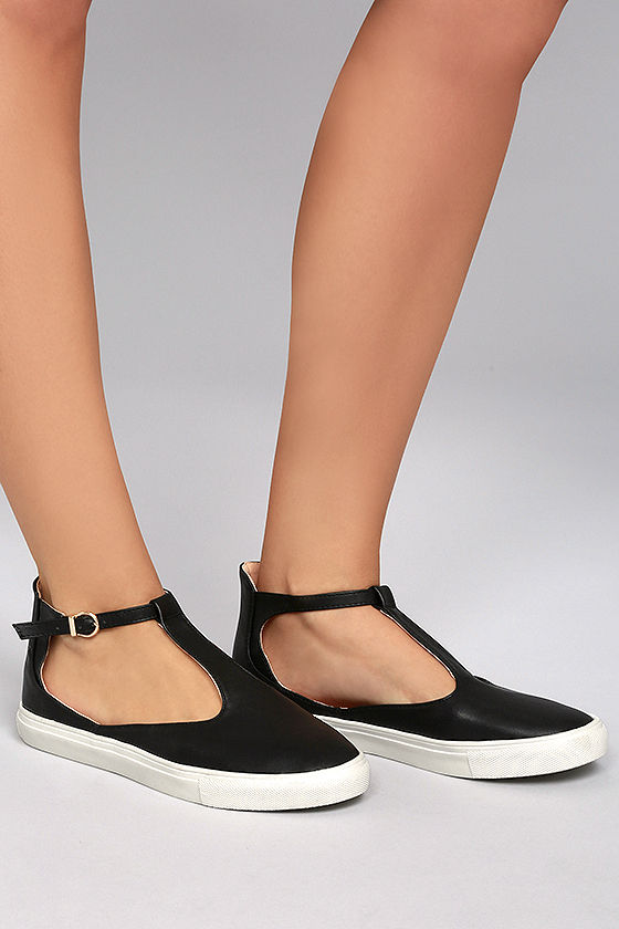 2f9a32f96f2 Chic Black Sneakers - Vegan Leather Sneakers - T-Strap Sneakers -  30.00