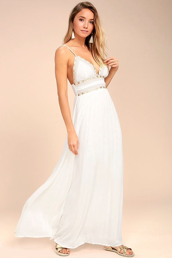 Giza White Embroidered Maxi Dress 2
