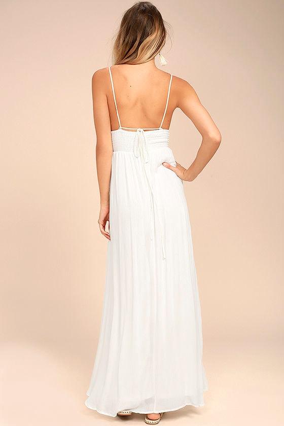 Giza White Embroidered Maxi Dress 3