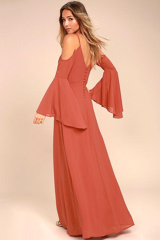 3de20f4510 Stunning Rusty Rose Dress - Off-the-Shoulder Maxi Dress - Cold Shoulder  Maxi Dress - $96.00