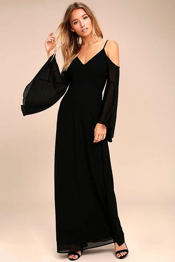 b0ff03c70e56 Stunning Black Dress - Off-the-Shoulder Maxi Dress - Cold Shoulder Maxi  Dress -  96.00