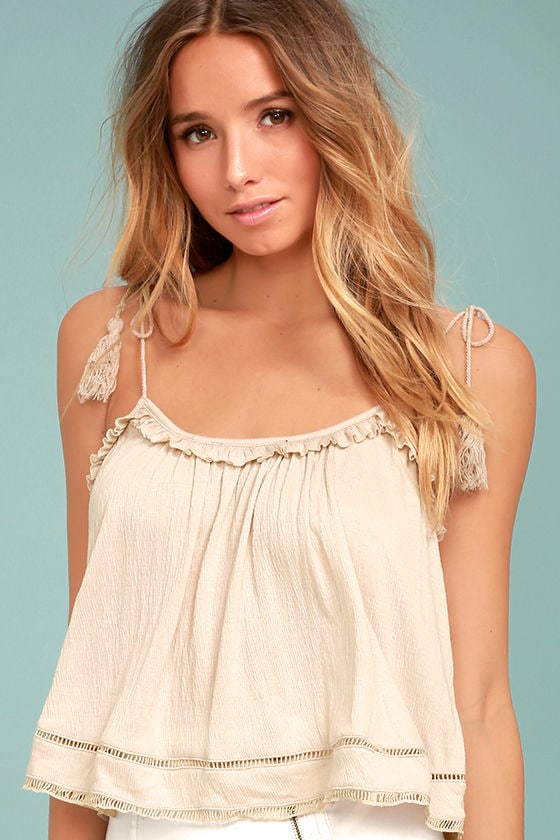 Cruisin' In Cancun Beige Crop Top 2