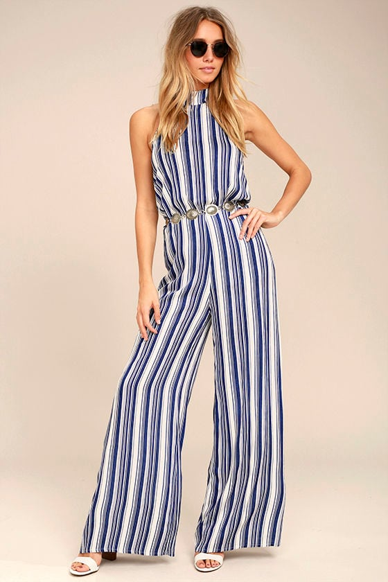 1291170e0ad Chic Blue and White Striped Jumpsuit - Halter Jumpsuit - Backless Jumpsuit  -  68.00