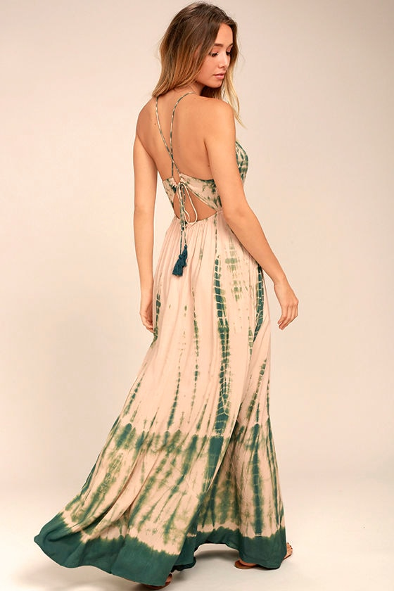 Boho Green And Peach Tie Dye Dress Maxi Dress Backless Maxi