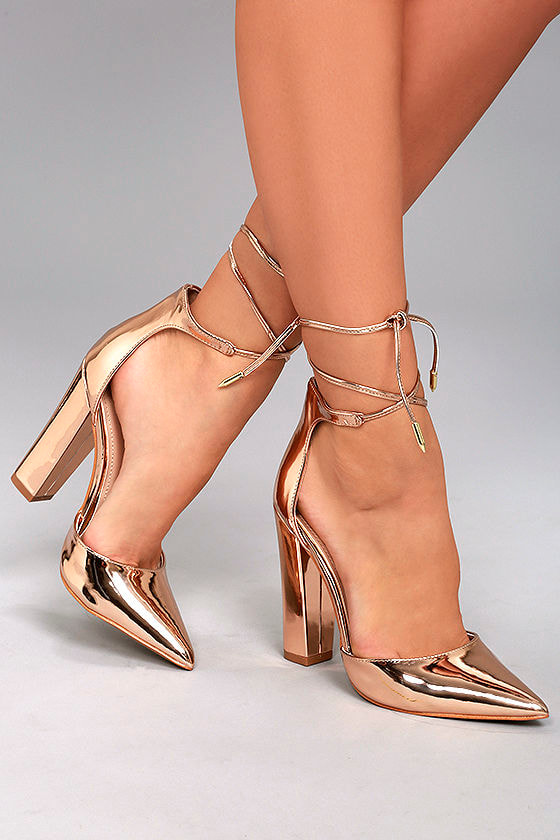Sexy Rose Gold Heels - Rose Gold Vegan Pumps - Lace-Up Heels - $32.00