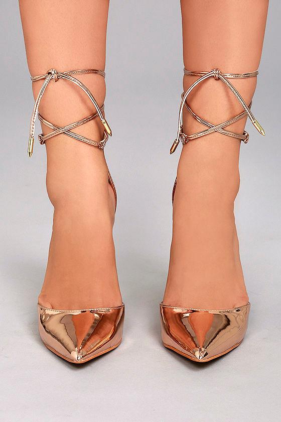 42b6945c817 Sexy Rose Gold Heels - Rose Gold Vegan Pumps - Lace-Up Heels -  32.00