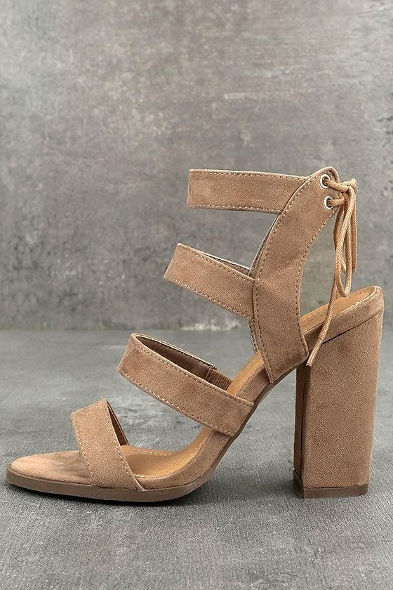 694790f5772 Beige High Heel Sandals - Vegan Suede Sandals - Block Heel