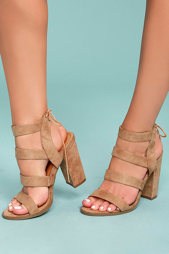 1cb5aa20d Beige High Heel Sandals - Vegan Suede Sandals - Block Heel