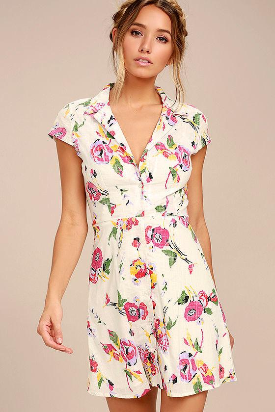 Obey Desi Dress - Cream Floral Print Dress - Shirt Dress - A-Line ...