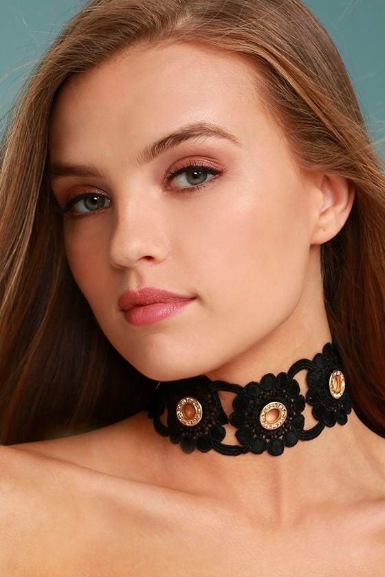554d1c9d4a7a Vanessa Mooney Kentucky - Black Choker Necklace - Lace Choker Necklace-  Rhinestone Choker Necklace - $48.00