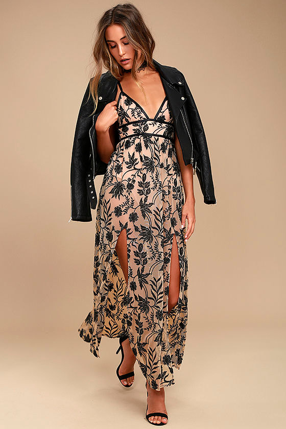 Somedays Lovin' Dusk Black and Nude Embroidered Maxi Dress 1