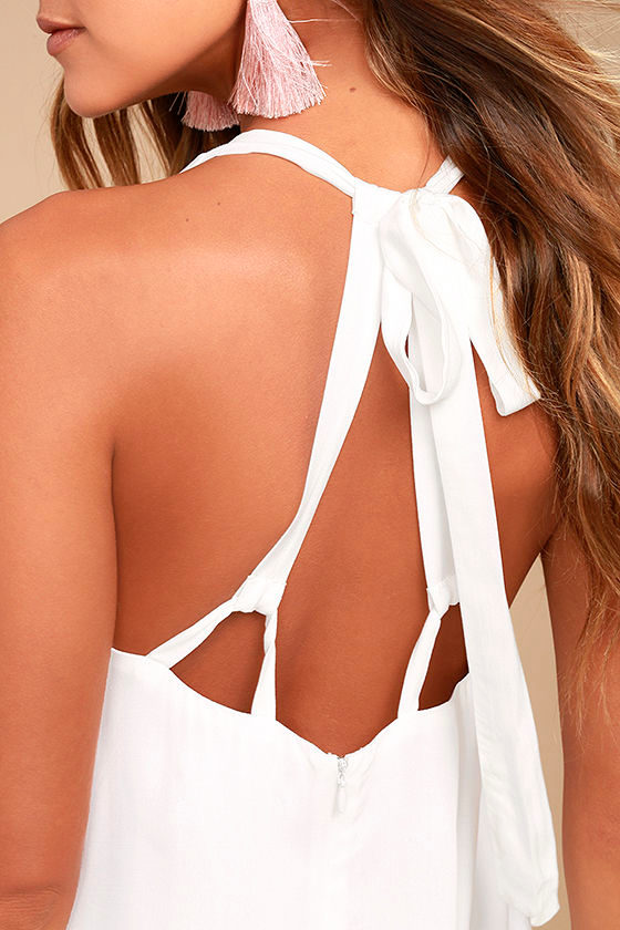 Cute white dress halter dress mini dress crochet for Love on the terraces