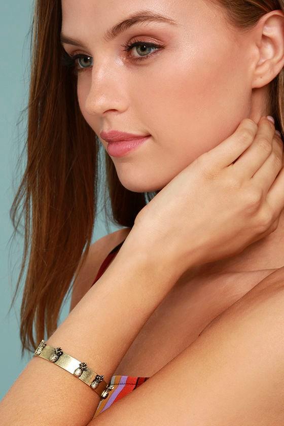 Tropical Treasures Gold Cuff Bracelet 3