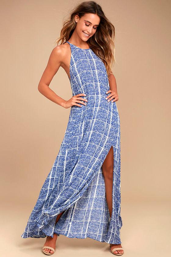 d361f51c4bcb Tavik Farleigh Dress - Blue Print Maxi Dress - Sleeveless Maxi - $62.00