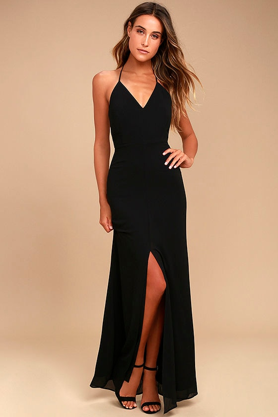 Stunning black maxi dress backless maxi dress lace for Night dress for wedding night