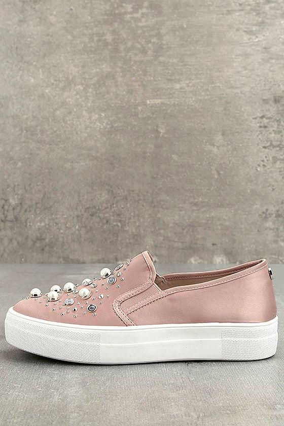 3b15933c537 Steve Madden Glade Sneakers - Blush Satin Sneakers - Slip-On Sneakers -  Faux Pearl Sneakers -  89.00