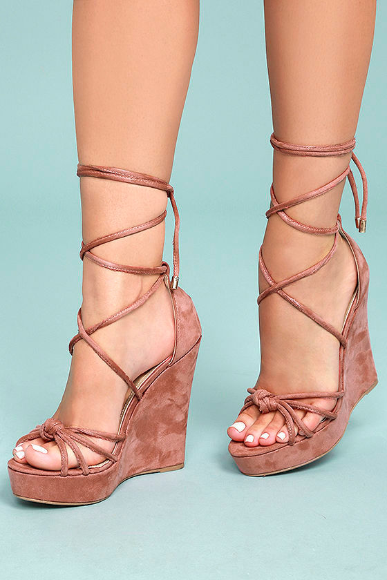 293072c006b9 Cute Dusty Pink Wedges - Lace-Up Wedges - Vegan Suede Wedges -  39.00