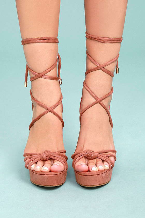 43ca059ae75 Cute Dusty Pink Wedges - Lace-Up Wedges - Vegan Suede Wedges -  39.00