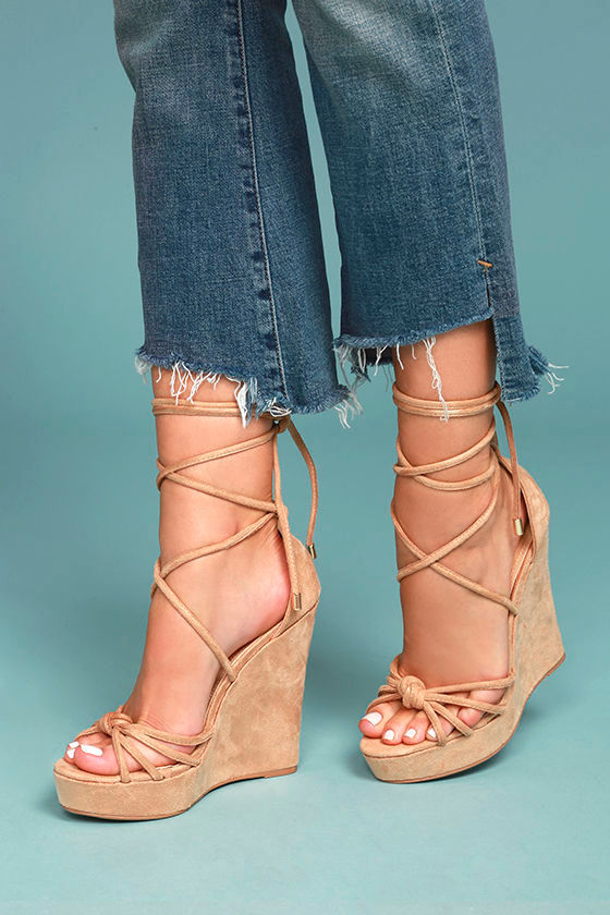 Macy Nude Lace-Up Wedges 4
