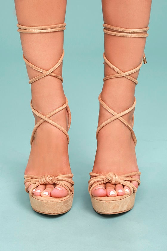 c537462fb78 Cute Nude Wedges - Lace-Up Wedges - Vegan Suede Wedges -  39.00