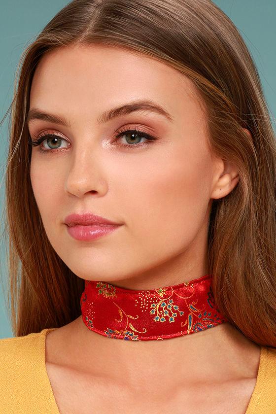 Frasier Sterling Shanghai Red Brocade Choker Necklace 1