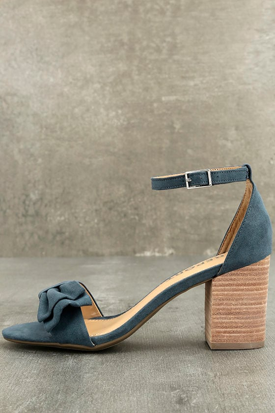 Report Pearlina Blue Ankle Strap Heels 1
