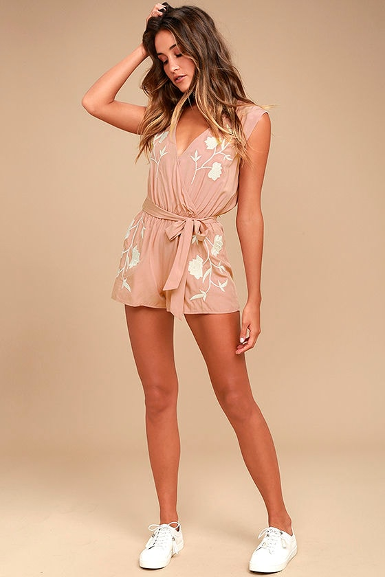 aa2208995d84 Chic Blush Pink Romper - Embroidered Romper - Belted Romper -  67.00