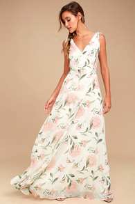 89c9b1dfe14 Lovely Cream Floral Print Dress - Wrap Dress - Maxi Dress