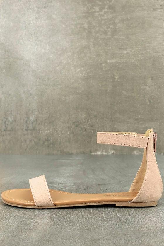 36082c97c Chic Ankle Strap Sandals - Blush Sandals - Flat Sandals - Vegan Sandals -  $18.00