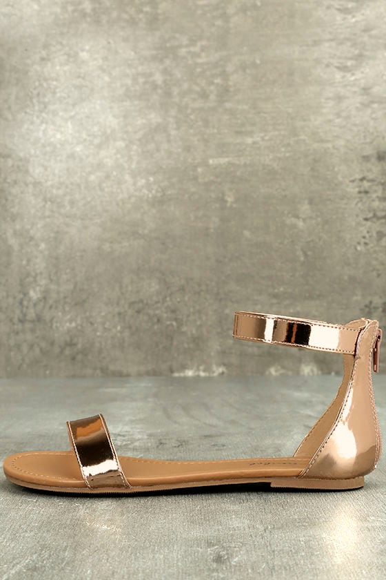 eb7a992eb Chic Ankle Strap Sandals - Rose Gold Sandals - Flat Sandals - Vegan Sandals  -  18.00