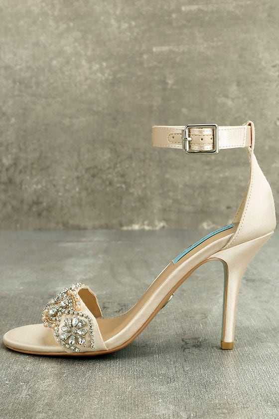 fb6bcafaa Blue by Betsey Johnson Gina - Champagne Satin Heels - Ankle Strap Heels -  $109.00