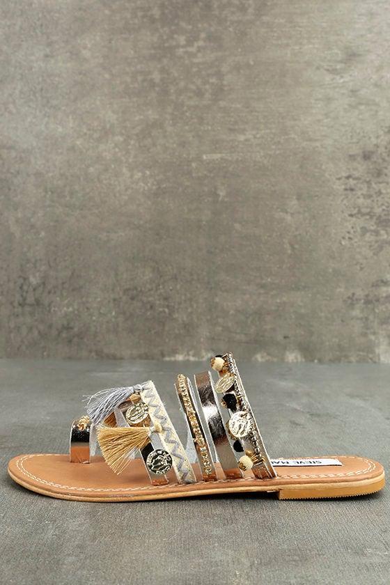 Steve Madden Rippel Metallic Multi Leather Sandals 1