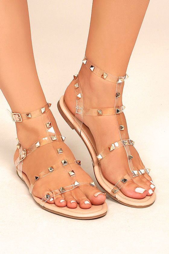 a7cba601fd18 Trendy Nude Lucite Sandals - Studded Sandals - Vegan Sandals