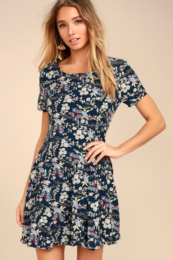 664f819808 Lovely Navy Blue Dress - Floral Print Skater Dress - Fit and Flare Dress -  $49.00