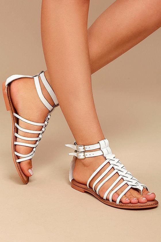 14428d0f65c9 Naughty Monkey Boardwalk - White Leather Sandals - White Gladiator Sandals  -  63.00