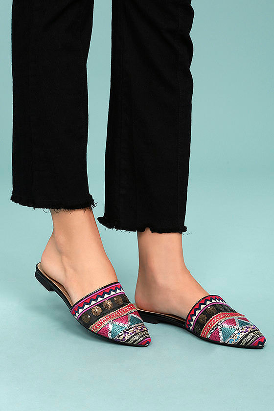 Andrea Black Embroidered Mules 4